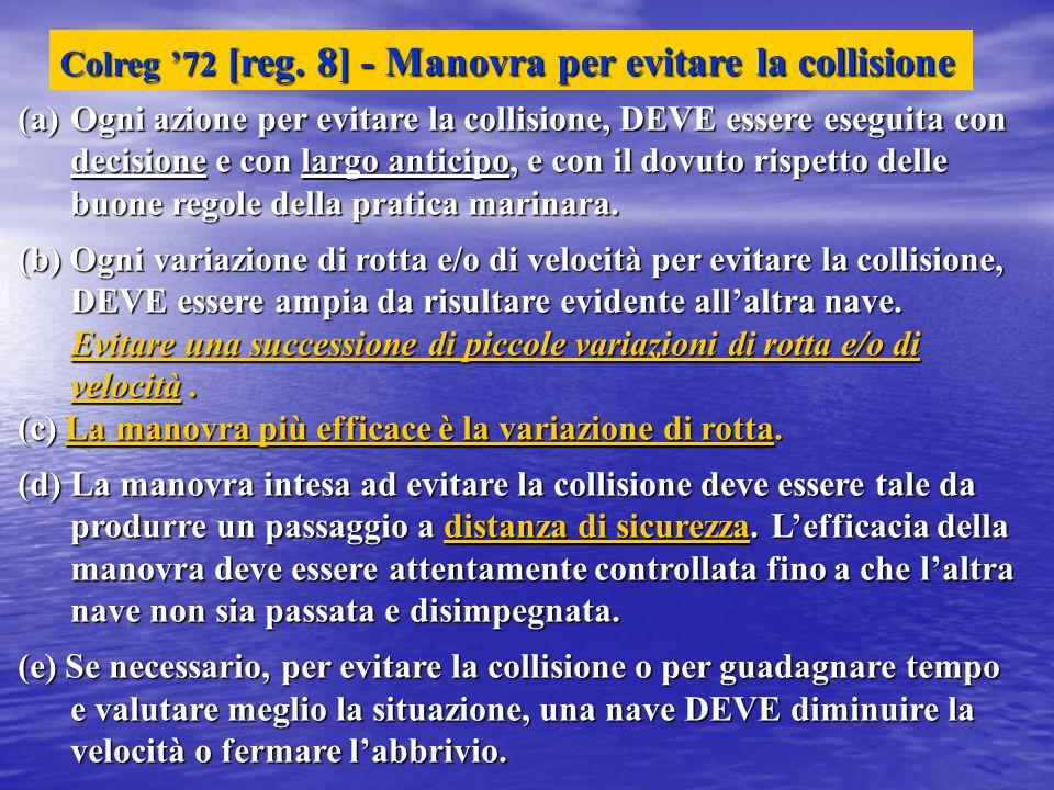 Colreg '72 [reg. 8] - Manovra per evitare la collisione